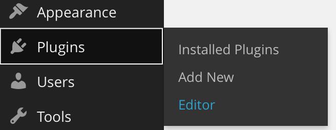 Left navigation menu with Plugins menu selected showing contrasting rectangle around menu item bounding box.