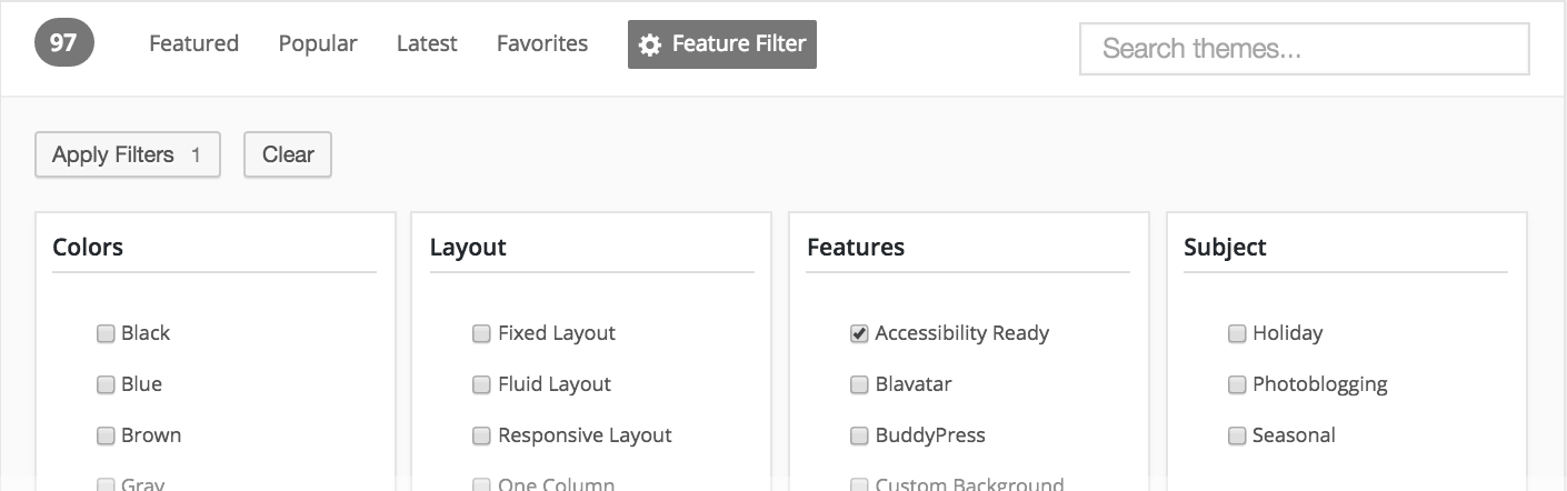 WordPress.org themes directory filter with Accessibility Ready tag checked