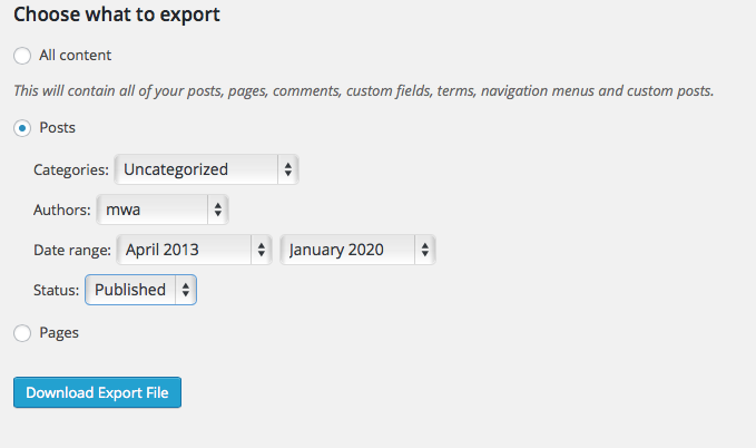 Export XML screen with options