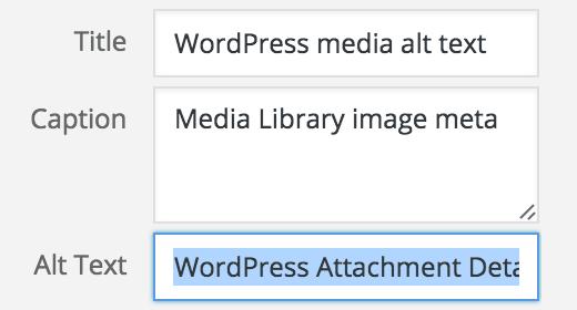 WordPress Attachment Details window, with Alt Text field