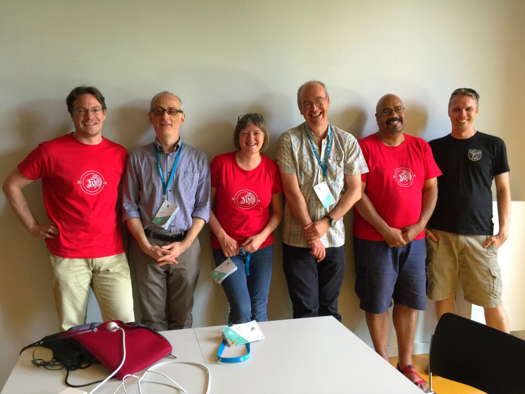 The WordPress Accessibility Team at WordCamp Europe. Left to Right: Joe Dolson, Andrea Fercia, Rian Rietveld, Graham Armfield, Mike Little, and Morten Rand-Hendriksen