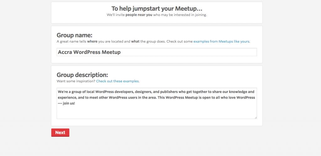 Crear un Grupo de Meetup Paso 5