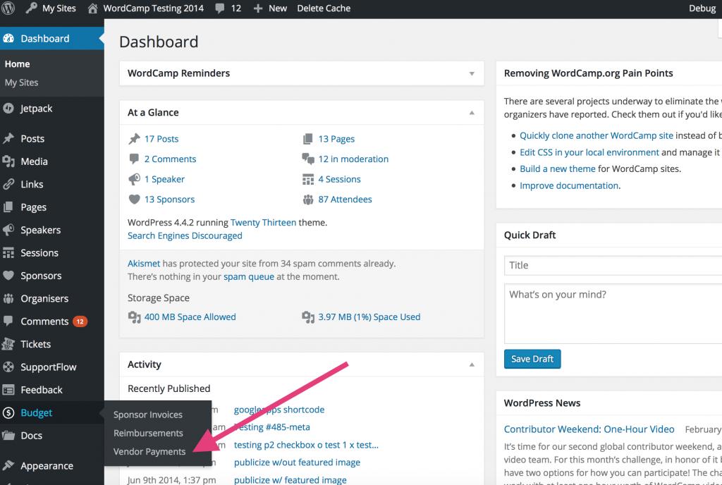 WordCamp Testing dashboard