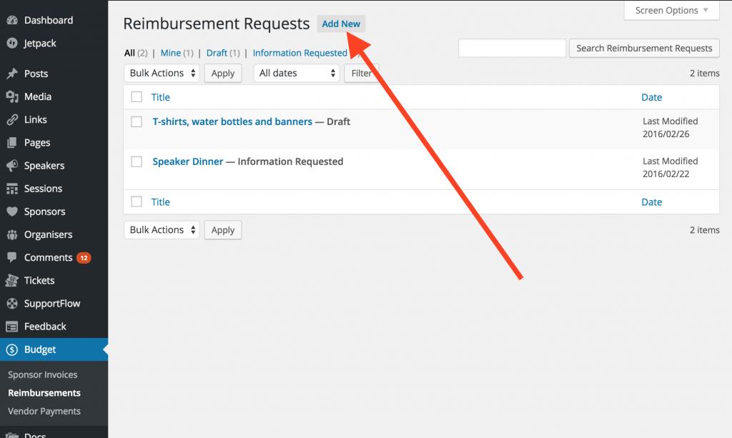 Reimbursement Requests: step 2: Reimbursements > Add New