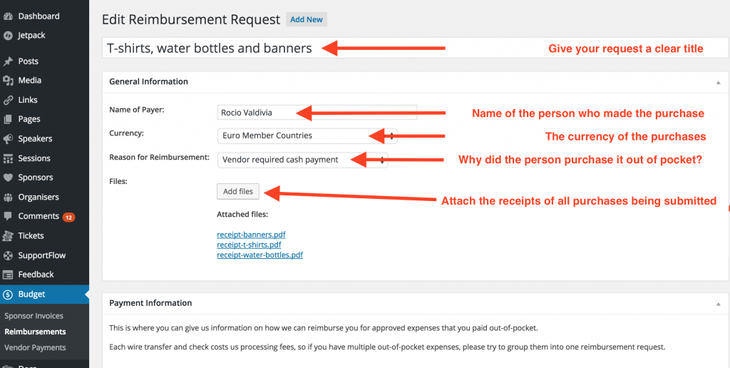 Reimbursement Requests . Step 3: purchase details