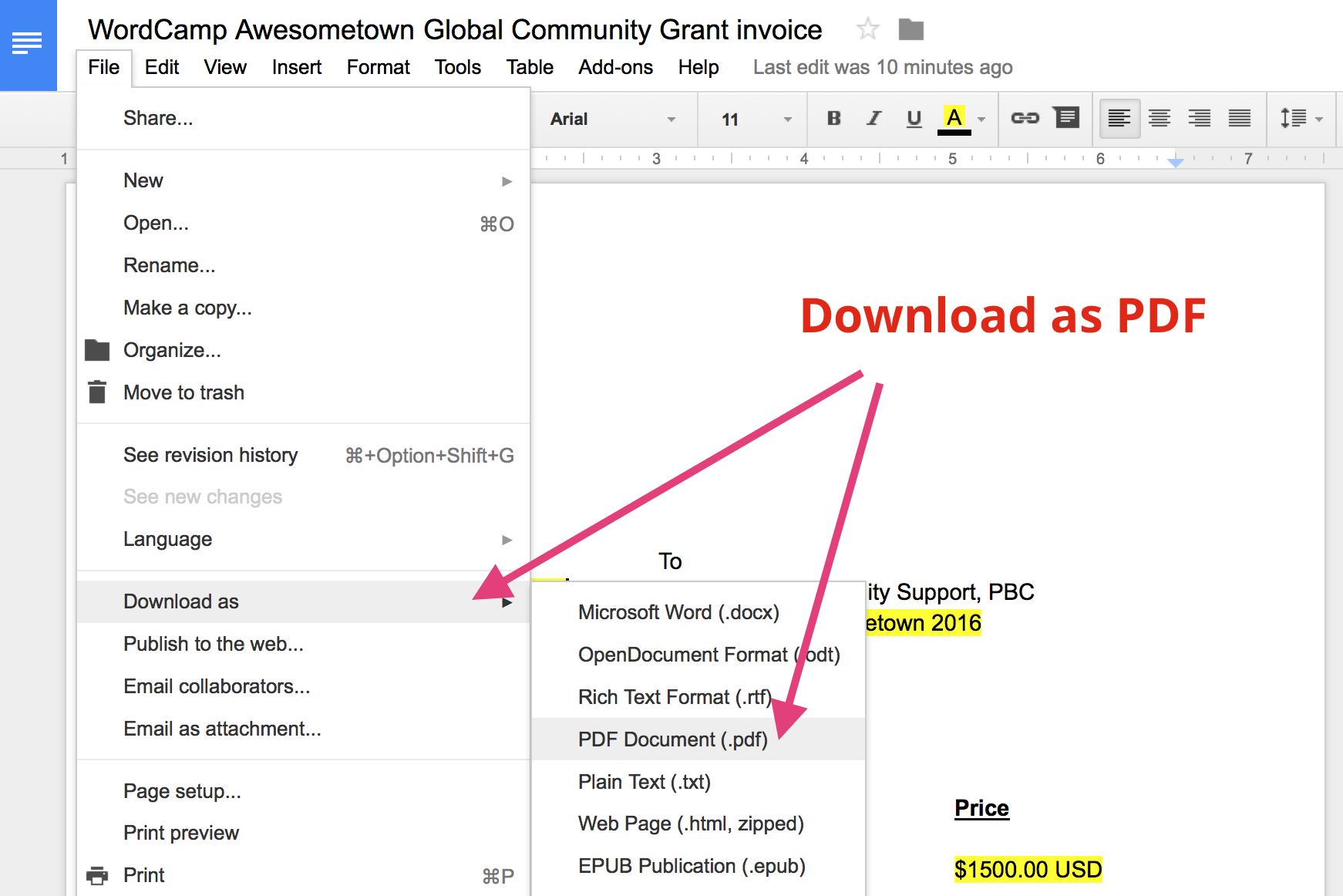 Requesting payment for your Global Community Sponsorship Grant – Sponsorship Invoice
