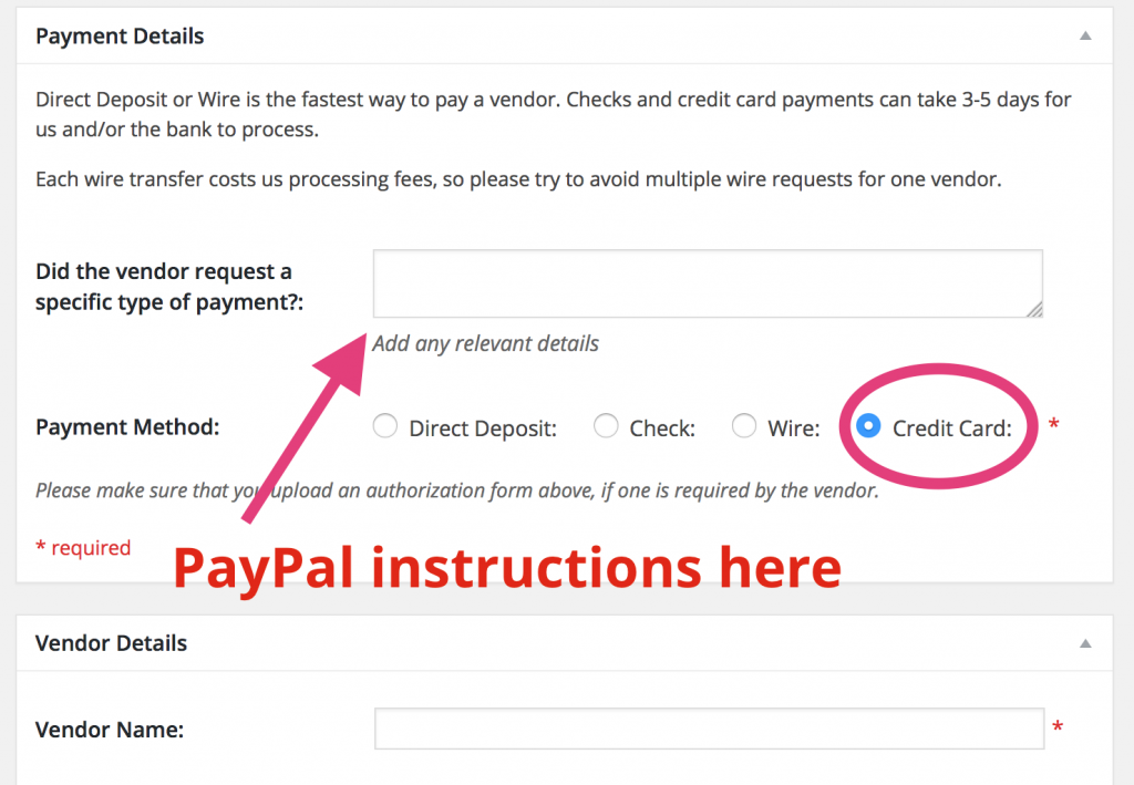 PayPal info goes in the Notes section