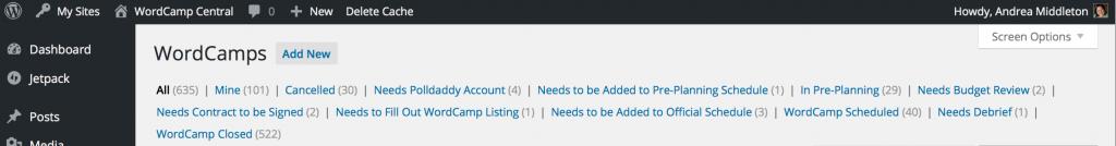 WordCamp listing new statuses