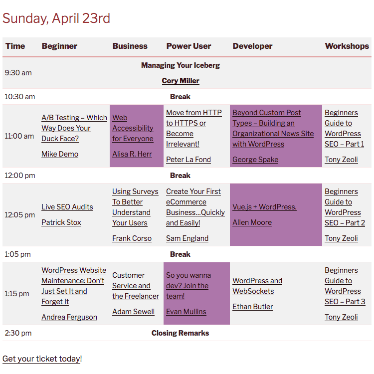 wordcamp raleigh schedule with marked sessions
