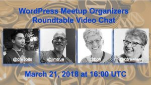 Meetup Organizers Roundtable March 21, 2018