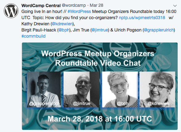 Tweet by WordCamp announcing-WordPress Meetup Organizers Roundtable
