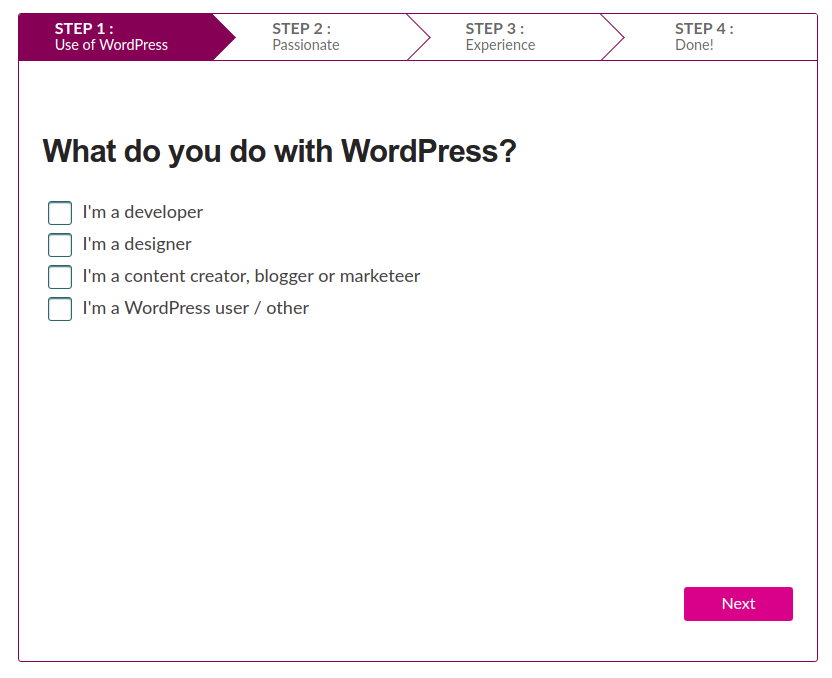 Step 1 of the tool asking users what they do with WordPress