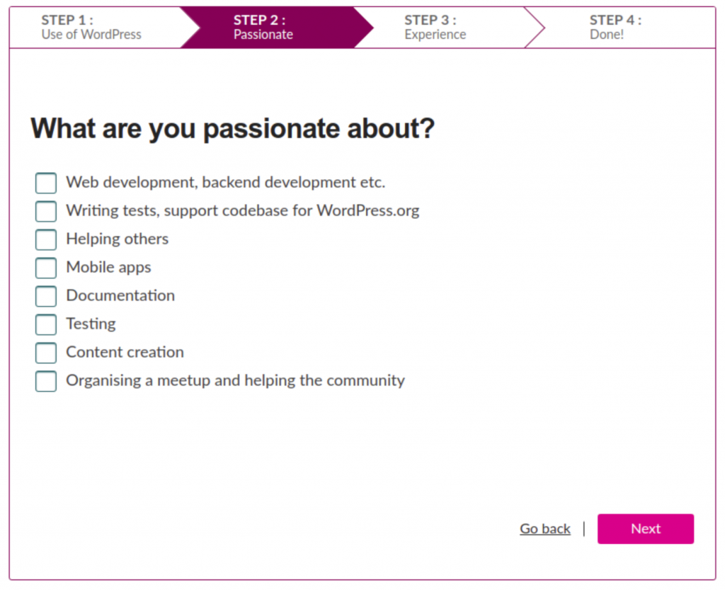 Step 2 of the Orientation Tool - what are you passionate about?