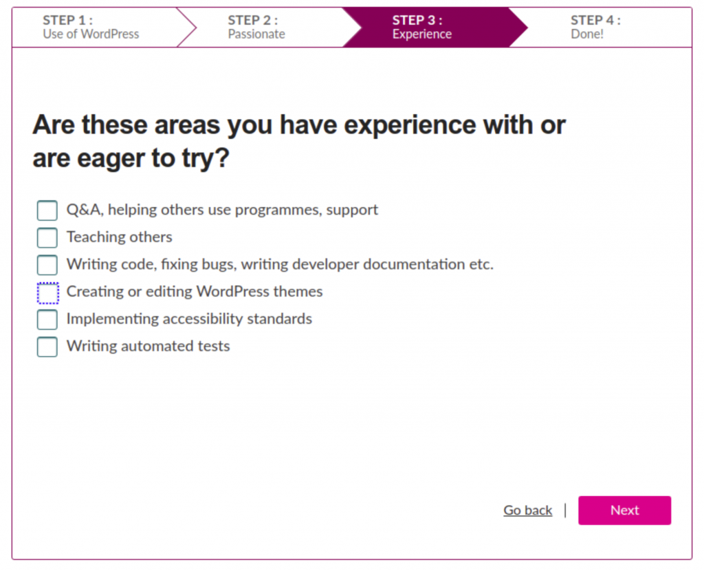 Step 3 of the tool asks about areas of experience