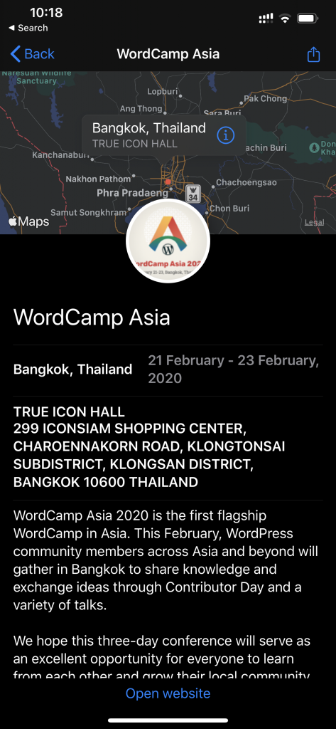 Proposed WordCamp app for iOS displaying detailed information about WordCamp Asia, including a map view, and information about dates and venue