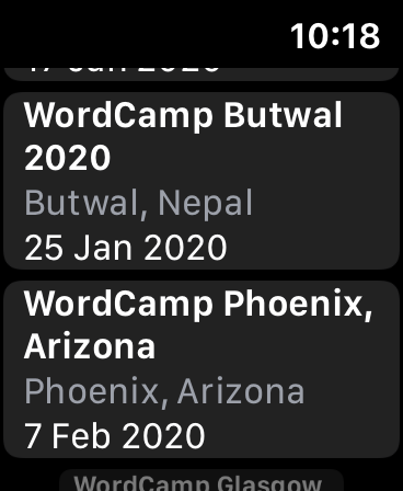 Proposed WordCamp app for watchOS displaying a list of upcoming events