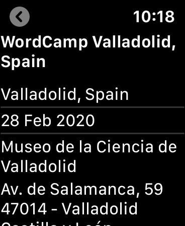Proposed WordCamp app for watchOS displaying extended information for WordCamp Valladolid
