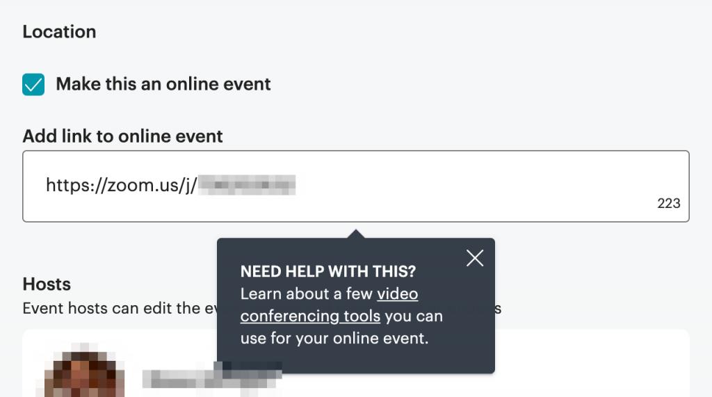 Screenshot of the online event designation feature of meetup.com.
