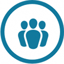 Community Contributor profile badge. It is a blue icon of a group of people, surrounded by a circle.