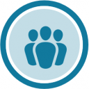 Community Team profile badge. It is a blue icon of a group of people, surrounded by a circle. The inside of the circle is filled with a light blue tint.