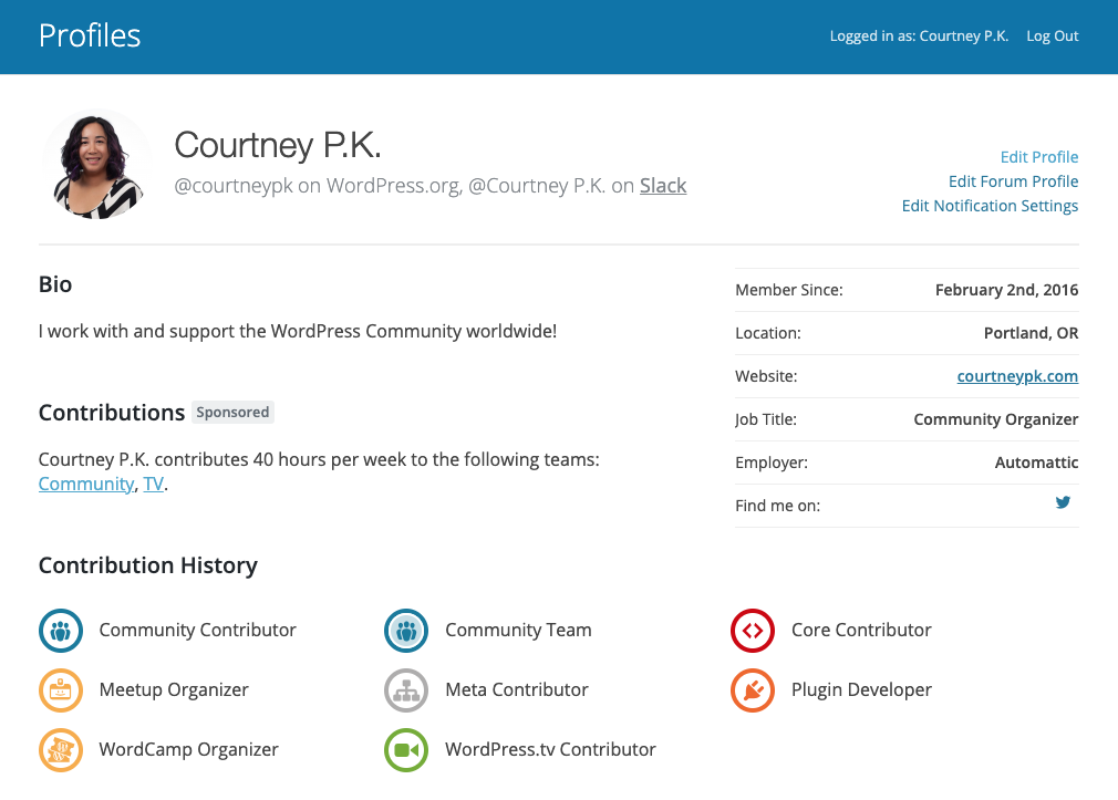 Image of Courtney P.K.'s profile on WordPress.org, showing her various contributor badges.
