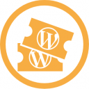 WordCamp Organizer profile badge.  It is a yellow icon of a pair of tickets, surrounded by a circle.