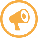 WordCamp Speaker profile badge. It is a yellow icon of a megaphone surrounded by a circle.