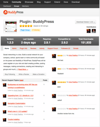 buddypress plugin tracking screen