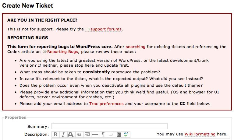 The new warning when creating a ticket.