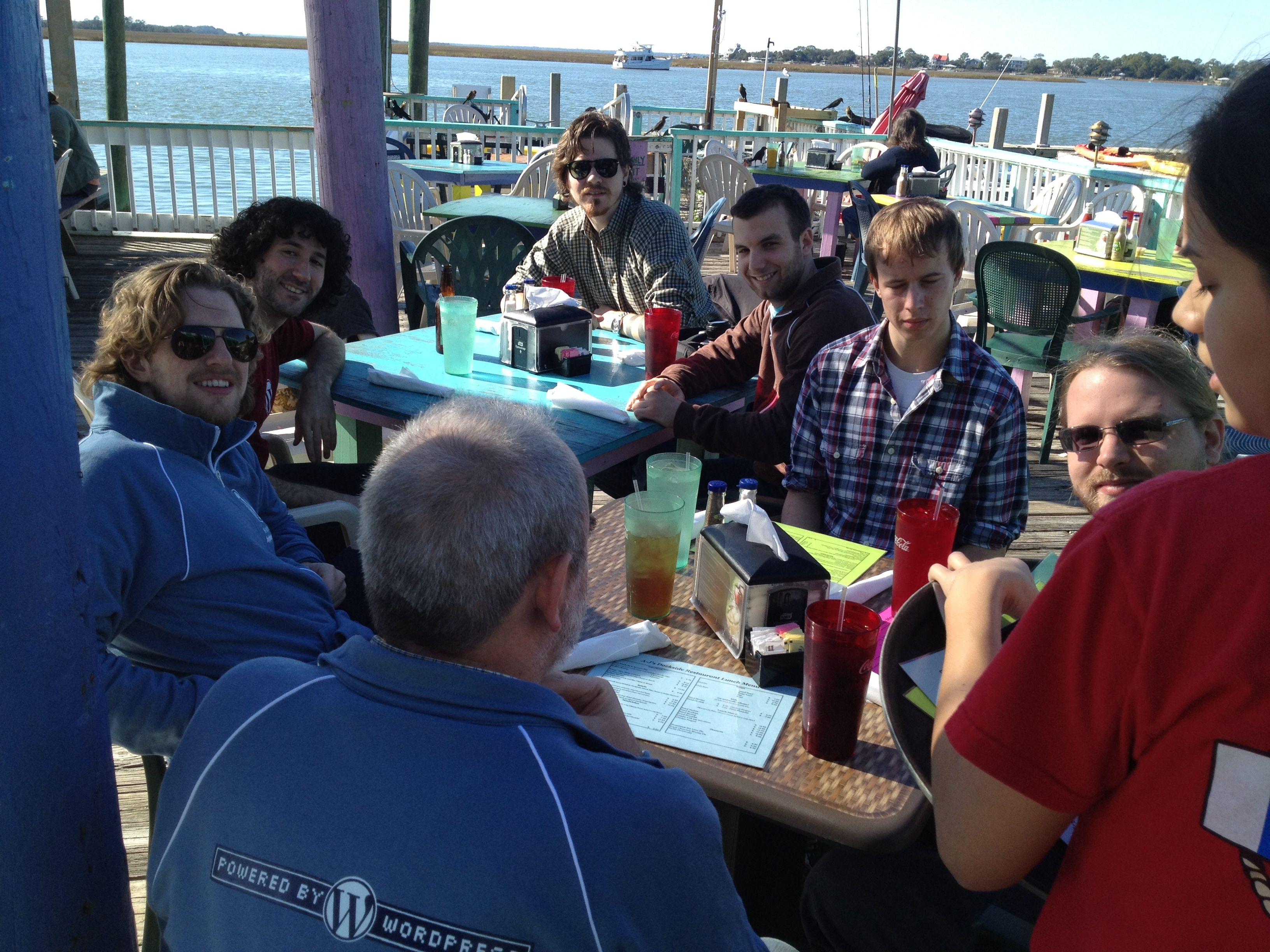 Core team at lunch at AJ's Dockside