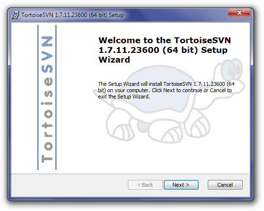 TortoiseSVN Installation Welcome Screen