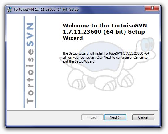 TortoiseSVN Installation Welcome Screen