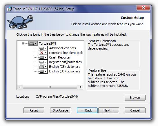 TortoiseSVN Custom Setup Screen