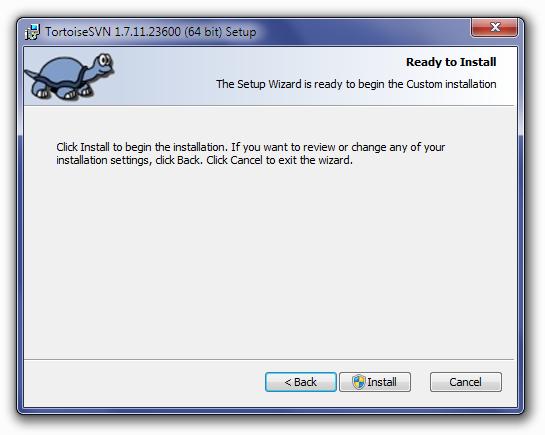 TortoiseSVN Confirm Installation Screen