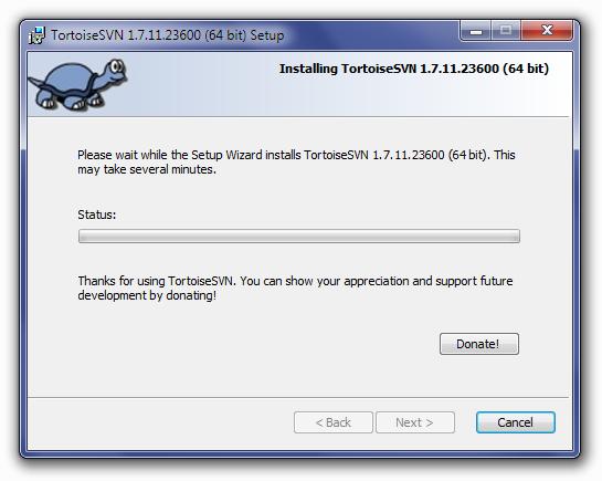 TortoiseSVN Installation Status Screen