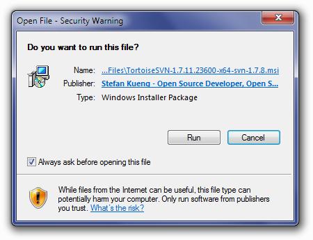 TortoiseSVN Open File Warning Screen
