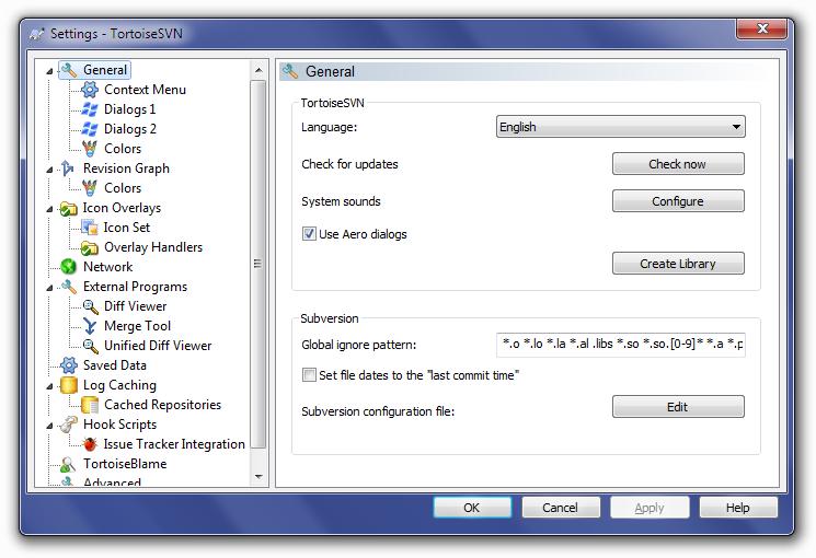 TortoiseSVN General Settings Screen