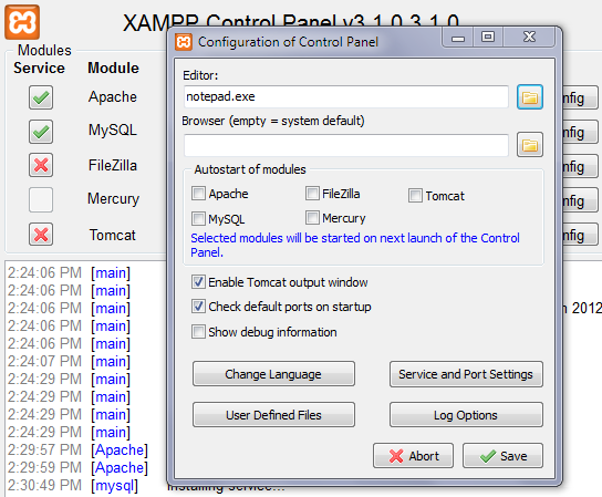 Configuring XAMPP: Set Default Text Editor Screen