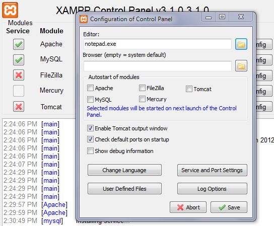 Configuring XAMPP: Set Default Text Editor Screen