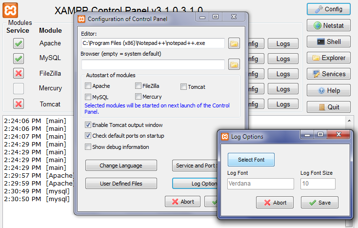 Configuring XAMPP: Set Default Font For Logs Screen
