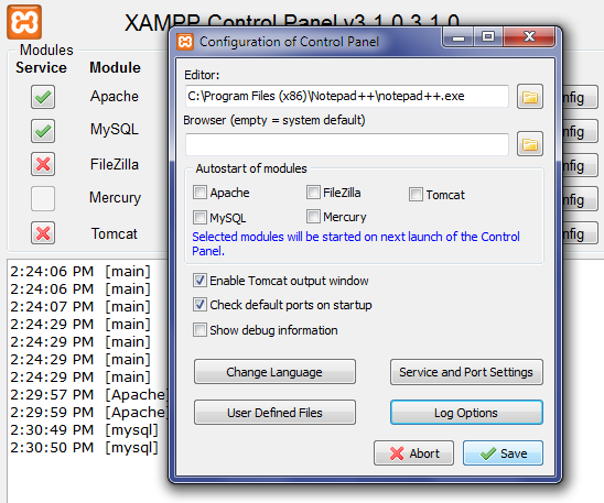 Configuring XAMPP: Save Settings Screen