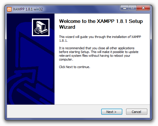Installing XAMPP: Welcome To The XAMPP Setup Wizard Screen