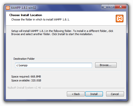Installing XAMPP: Choose Install Location Screen
