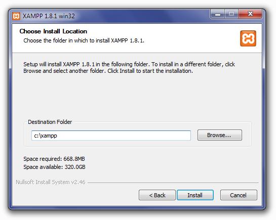Installing XAMPP: Choose Install Location Screen