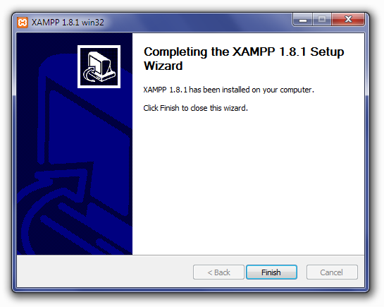 Installing XAMPP: Completing The XAMPP Setup Wizard Screen