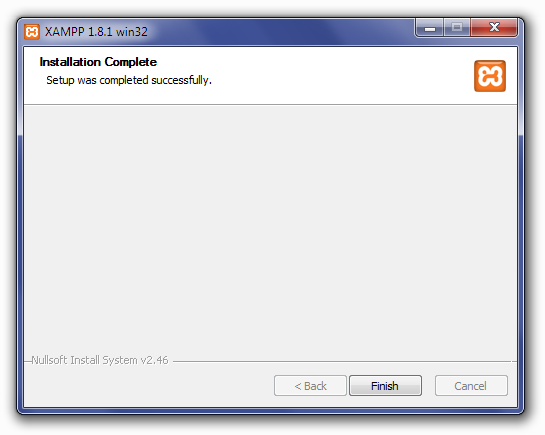 Installing XAMPP: Installation Complete Screen