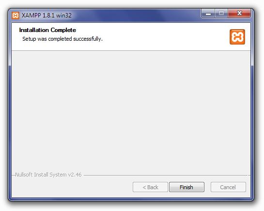 Installing XAMPP: Installation Complete Screen