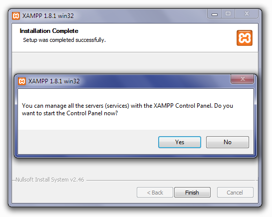 Installing XAMPP: Open Control Panel Screen