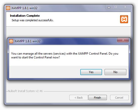 Installing XAMPP: Open Control Panel Screen