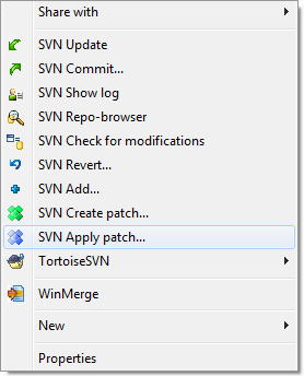 TortoiseSVN Apply Patch Context Menu Screen